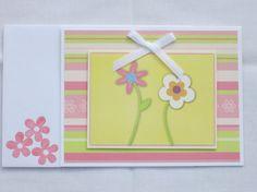 Birthday card Handmade girl  pink/green/white by HandmadeOnJupiter, $3.00