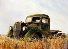Landscapes | Mary Gibbs Art Watercolor Barns, Watercolor Pencils, Watercolor Landscape, Watercolor Paintings, Watercolors, Old Pickup Trucks, Truck Art, Rusty Cars, Abandoned Cars