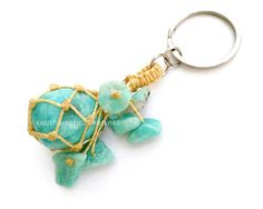 Amazonite stone keychain made with the by MiraquelAccessories