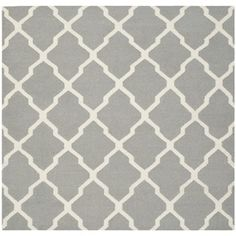 safavieh handmade flatweave dhurries grey ivory wool rug 8u0027 square by safavieh