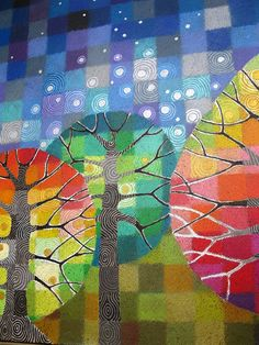 painting of fall trees Fabric Painting, Fabric Art, Painting Trees, Rainbow Quilt, Kids Art Class, Landscape Quilts, Art Club, Elementary Art, Tree Art