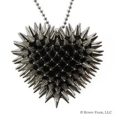 SILVER Spiked Heart Necklace by BunnyPaige on Etsy, $48.00