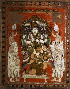 Vishnu, wood painting, Crafts Museum, New Delhi, India.