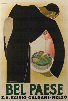Vintage Italian Posters ~ #illustrator #Italian #vintage #posters ~ Italy. Bel Paese Galbani ad, 1932