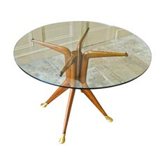 Glass Italian Design Dining Table or Centre Table 1950s