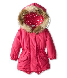 7703915c7 Le top morning glory hooded jacket with dot lining and faux fur trim infant toddler  little kids