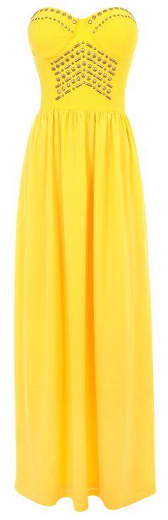 'Chiara' Yellow Studded Strapless Maxi Dress