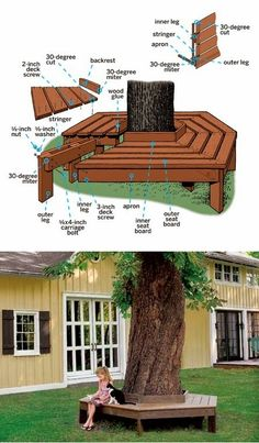 bench around tree - outside benches (DIY idea) . | Interior Design