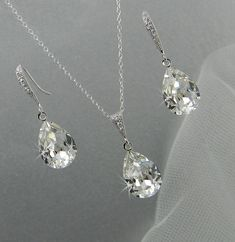 Bridal Jewelry Set, Crystal Pendant Earrings Necklace Jewelry Set , Wedding Jewelry, Bridesmaids Jewelry Set, Small Crystal Drop Set. $55.00, via Etsy.