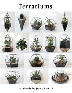 All 16 Terrariums Terrariums, Glass Terrarium, Succulent Terrarium, Stained Glass Projects, Stained Glass Patterns, Mosaic Glass, Glass Art, Glass Planter, Geometric Decor