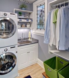 full size stackable washer/dryer, sink, Laundry room