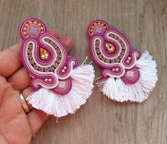 Funky Earrings, Orange Earrings, Beaded Tassel Earrings, Soutache Earrings, Chandelier Earrings, Embroidery Techniques, Dangles, Turquoise, Etsy