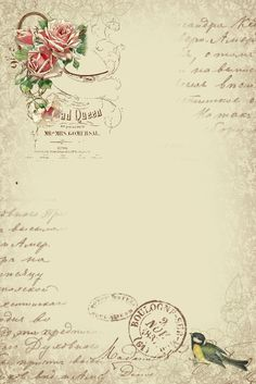 Astrid's Artistic Efforts: Springtime in Paris freebie sheet with roses, bird, postmarks, bird - large 736 × 1103