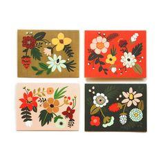 Folk Card Set 8 Pack by Rifle Paper Co. Motif Floral, Floral Prints, How To Fold Notes, Folk Embroidery, Embroidery Designs, Rifle Paper Co, Note Cards, Just In Case, Folk Art