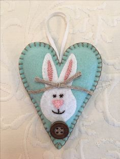Felt crafts, felt ornament, bunny, rabbit, Easter, heart, Valentine, made by Janis