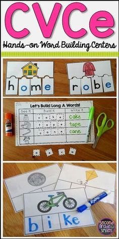 Need more Daily 5 word work activities for CVCe, magic e, slient e, or bossy e words? The set is full of hands-on phonics and spelling centers for first and second graders! First Grade Phonics, Teaching First Grade, Teaching Phonics, First Grade Reading, Jolly Phonics, Teaching Kids, Spelling Centers, Word Work Centers, Literacy Centers