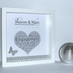 Personalised engagement Champagne flutes 3d shadow box frame gift