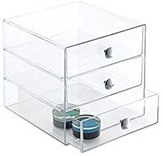 InterDesign 3 Drawers Plastic Vanity Organizer (Clear) 35300 for sale online Dressing Table Organisation, Vanity Organization, Container Organization, Desktop Organization, Glass Storage Containers, Organisation Hacks, Storage Hacks, 3 Drawer Storage, Kitchen Storage Boxes