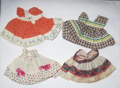 VINTAGE GINNY DOLL DRESSES LOT OF 4 SKINNY VOGUE Tag Clothes KINDERGARTEN  #ClothingAccessories