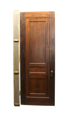 Dark tone wood privacy door with three panels and a partially attached frame. The frame and hardware is included. This door is in […]