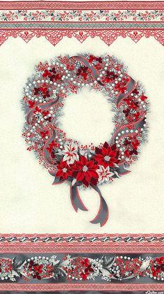 "Holiday Flourish 8 - Wreath - White/Silver - 24"" x 44"" PANEL"