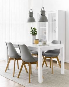 Kitchen Chairs Set Of 4 4 Chair Dining Table, Ikea Dining Room, Gray Dining Chairs, Fabric Dining Chairs, Dining Room Sets, Upholstered Dining Chairs, Dining Room Furniture, Room Chairs, White Dinning Table
