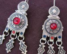Berber Silver red glass Niello Earrings Morrocan by TuaregJewelry, $148.00