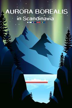 Aurora Borealis in Scandinavia Vintage Travel Poster - See Northern Lights in Tromso, Reykjavik, Trondheim, Geiranger, Iceland,Norway,Finland,Sweden