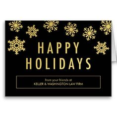 golden flakes business holiday greeting card - Custom Holiday Cards For Business