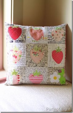 Strawberry cushion by Gina @ Party of 8  paper pieced pattern by #Quiet Play