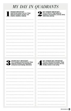 Free My Day In Quadrants To Do List Printable