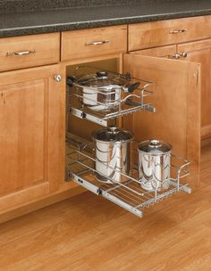 "Rev-A-Shelf 5WB2-0918-CR | This Double Wire Basket by Rev-A-Shelf features full-extension ball bearing slides and Heavy-Duty Chrome plated baskets. Installation is simple as well, mount the bottom bracket to the floor of your cabinet, then attach the upper bracket using the back of the cabinet and face frame. The 5WB reduced depth series is available with 18""  slides and a variety of widths to fit many different applications."