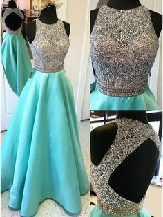 Cyan Sleeveless Open Back Beaded A Line Long Prom Dress 2017