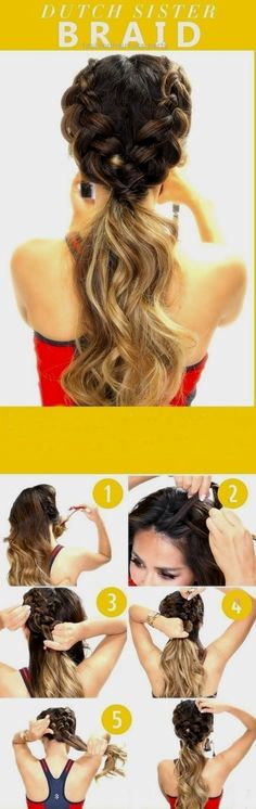 Beautiful Dutch sister braid how to simple easy Hairstyle hacks check out more hair style hacks pins @beauteejunkeez