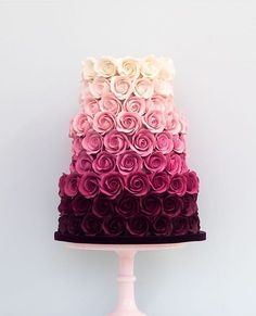 Ombre Rose Wedding Cake This is beautiful. And they got to have it for a wedding… Ombre Rose Wedding Cake This is beautiful. And they got to have it for a wedding cake but it's beautiful Gorgeous Cakes, Pretty Cakes, Cute Cakes, Amazing Cakes, Wedding Cake Roses, Rose Wedding, Purple Wedding, Floral Wedding, Wedding Colors