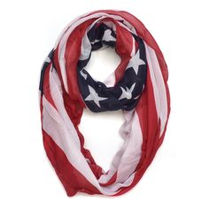 Dasein American Flag Colors Scarf (Red, White & Blue - Free End Style), Size One Size Fits All (polyester) American Flag Scarf, American Flag Colors, Oversized Scarf, Lightweight Scarf, Other Outfits, Womens Scarves, Red And Blue, Blue Scarves, Infinity