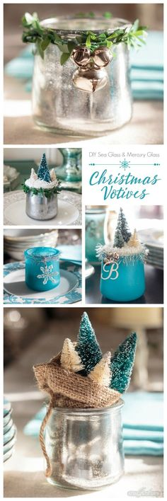 Turn glass yogurt jars into stunning sea glass and mercury glass votives. Add bottlebrush trees, greenery, tinsel and faux snow and use them as part of your Christmas decor. Click for step-by-step instructions and a complete supply list for making them. Plus check out the other ideas for repurposing jars and decorating with jars. via @ajastro