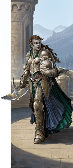 f Half Orc Half Elf Paladin Plate Armor Helm Cloak Battle Axe female urban Castle Hills mountains Conifer forest lg Fantasy Races, High Fantasy, Fantasy Warrior, Fantasy Rpg, Medieval Fantasy, Elf Warrior, Dnd Characters, Fantasy Characters, Female Characters