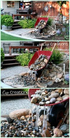 DIY Wheelbarrow Water Fountain Garden Instruction - DIY WheelBarrow Miniature Garden Projects #rock_garden_pond