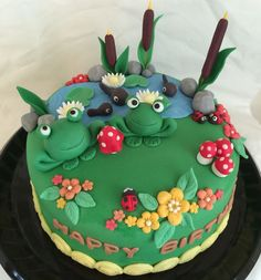 Frog Pond Cake (Chocolate Cake with Chocolate Buttercream Frosting) for A's Birthday (April, Frog Birthday Party, Cute Birthday Cakes, 8th Birthday, Birthday Ideas, Cupcakes, Cupcake Cookies, Choco Fresh, Pond Cake, Australian Desserts