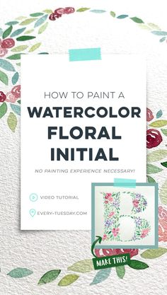 In this tutorial, I share my process on how to paint a watercolor floral initial. All you need is your favorite font, watercolors and some watercolor paper. No prior watercolor floral skills necessary! Learn Watercolor Painting, Watercolor Brush Pen, Watercolor Tips, Watercolor Lettering, Floral Watercolor, Hand Lettering, Watercolor Tutorials, Watercolor Paper, Design Textile