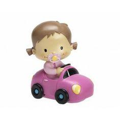 Un dulce figura de un niño bebé en una coupé rosa. Una figura para utilizar de recuerdos en bautizos, nacimientos o Baby Showers de niños. Medida: 16 cm. http://duldi.com/recuerdos-hucha-bebe-coupe-rosa.html