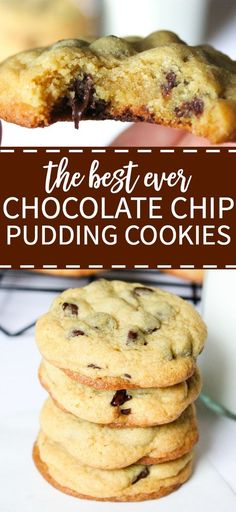 The best ever chocolate chip pudding cookies! This chocolate chip cookie recipe is thick and chewy and filled with melted chocolate chips. It's so easy to make and perfect to freeze whenever you need (Favorite Recipes Chocolate Chip Cookie) Chocolate Chip Granola Bars, Chocolate Chip Pudding Cookies, Melting Chocolate Chips, Chocolate Cookie Recipes, Best Chocolate, Homemade Chocolate, Melted Chocolate, Cookies With Pudding, Chocolate Cake