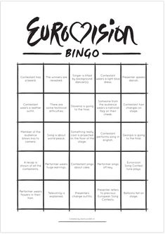 eurovision bingo 2015 free printable by teamconfetti Bingo Funny, Eurovision 2017, Lose Weight At Home, Dance Routines, How To Get, How To Plan, Sound Of Music, Grand Prix, Party Planning