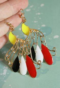 Enamel & Crystal Peacock Earrings (Gold with Neon Yellow)