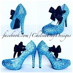 Glitter High Heels - Light Blue Pumps -Aqua Turquoise Ice Calypso - Black Satin Bows - Blue Wedding Shoes - Sparkly Prom Heels - pinned by pin4etsy.com