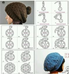 Šeříková prostor  diagramy háčkované čepice   klobouky háčkování diagramy  Způsoby Háčkování c52e4b2c2e
