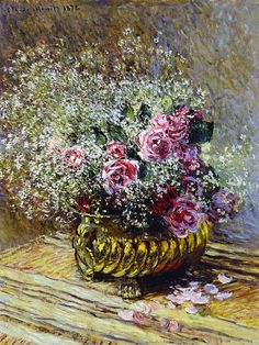 Roses in a Copper Vase - Claude Monet