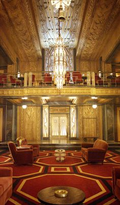 The gorgeous lobby set of American Horror Story Hotel
