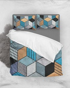 Colorful Concrete Cubes 2 - Blue, Gray, Brown // Duvet Cover + Pillow Shams by Zoltan Ratko // This pattern design is also available as a wall art, apparel, tech and home product. Pillow Shams, Pillow Covers, Pillows, Linen Bedding, Blue Bedding, Bed Linen, Cozy Bedroom, Master Bedroom, Brown Duvet Covers